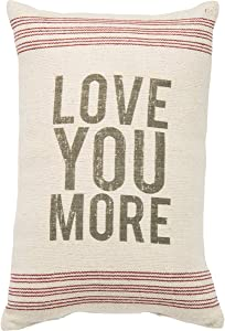 "Primitives by Kathy 18293 Striped Pillow, 10"" x 15.5"", Love You More"