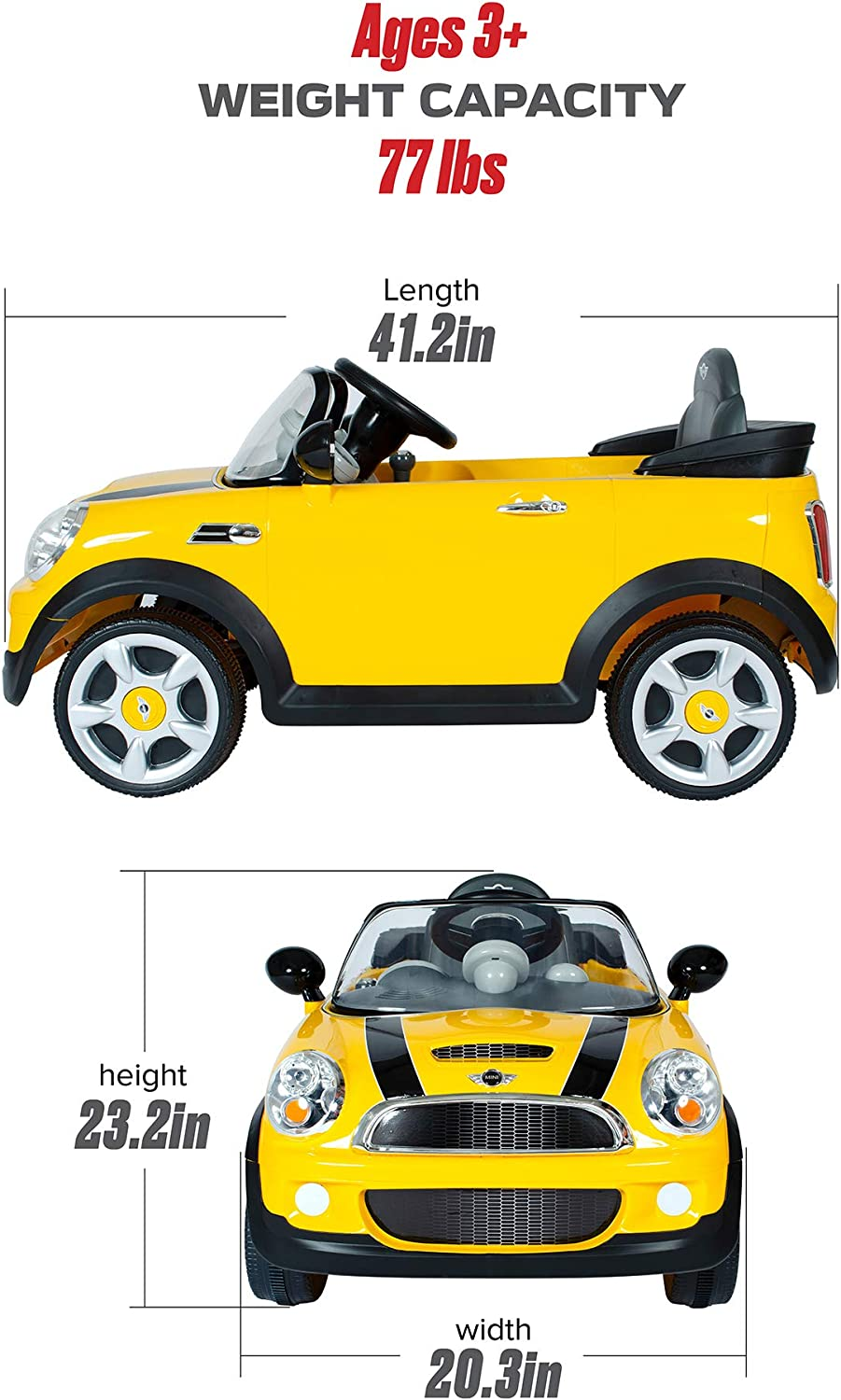 Amazon Com Rollplay 6v Mini Cooper Kid S Ride On Car For Boys Girls Ages 3 Up Battery Powered Ride On Toy Yellow Toys Games