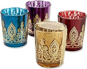 Kate Aspen Indian Jewel Henna Votives - 2 Sets of 4, 8 Pieces - Assorted Colors, Diwali, Perfect Indian Wedding Favor, Party Decor, Bachelorette or Bridal Shower Favor