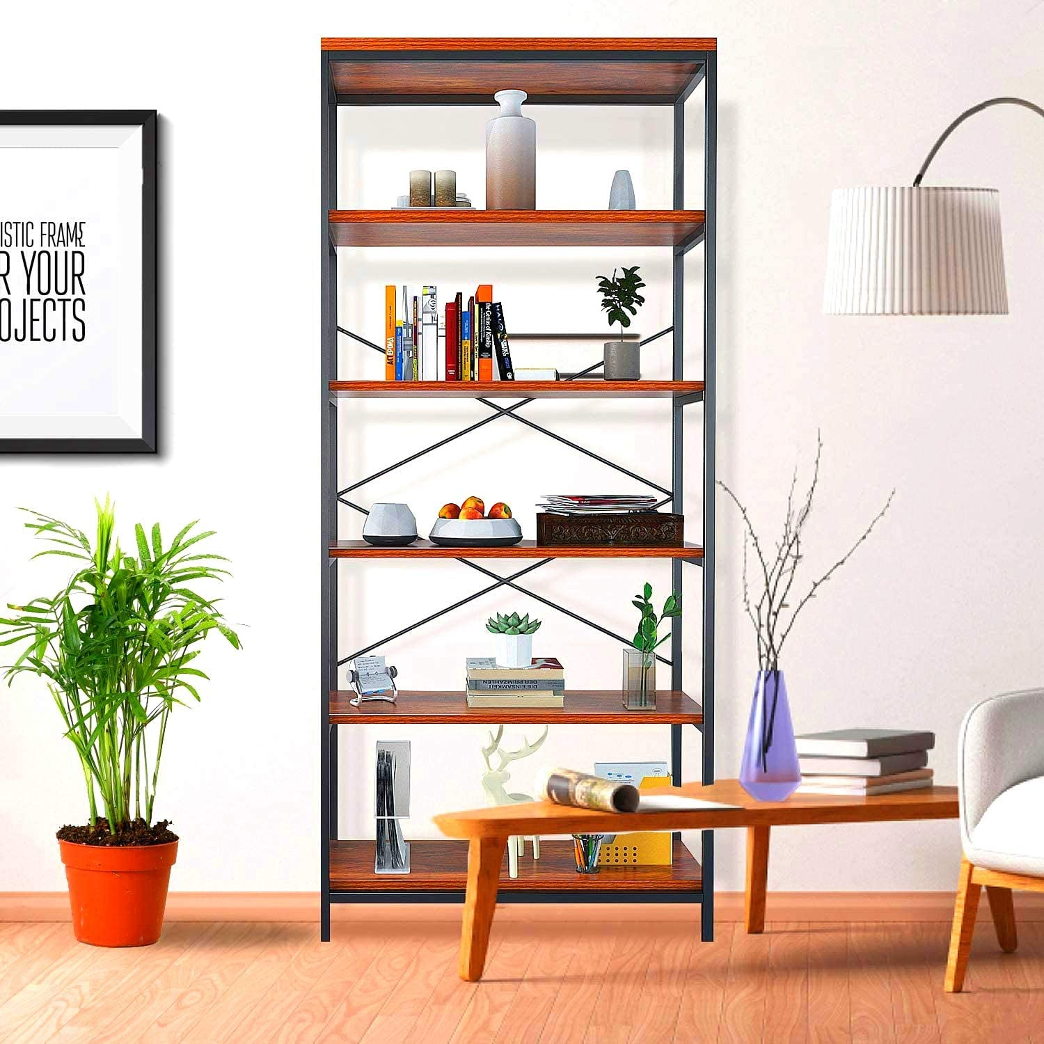 Himimi 5-Shelf Industrial Bookcase, Vintage Wood Open Storage Bookself with Angle Iron Metal Frame, Display Rack and Storage Organizer, Free Standing Storage Display Shelves for Home Office