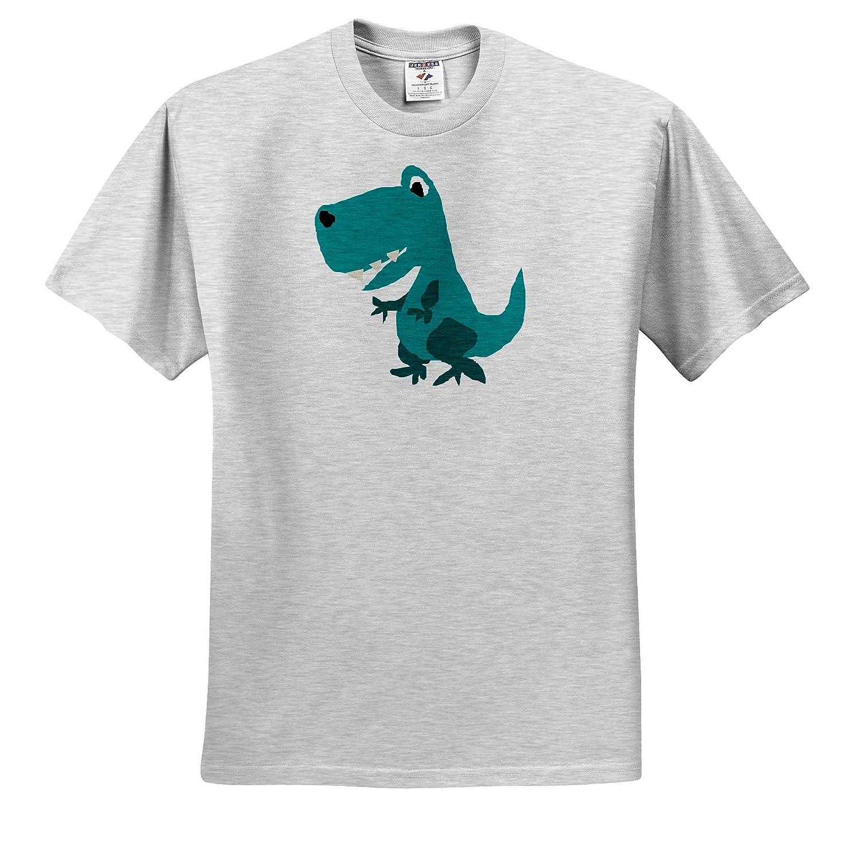 ts/_309631 3dRose All Smiles Art Dinosaurs Funny Cute Blue T-rex Dinosaur Primitive Art Cartoon Adult T-Shirt XL