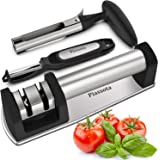 Kitchen Knife Sharpener + Vegetable Peeler and Apple Corer Set | Keep your knives sharp with professional knive sharpeners for straight and serrated blade by Piassota