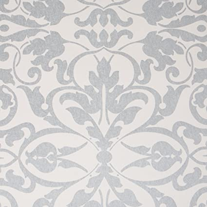 Swirls Whitesilver Damask Modern Wallpaper For Walls Sample Swatch By Romosa Wallcoverings Ll7562