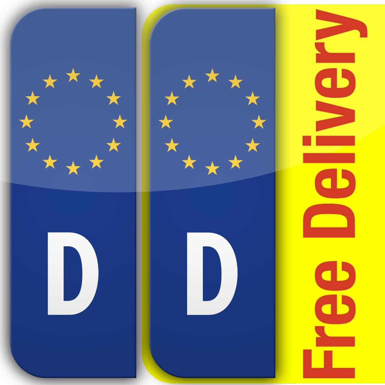 2 x Euro D Placa Coche Matrí cula Autoadhesivo pegatinas de vinilo Adhesivos de Europea Alemania stika.co