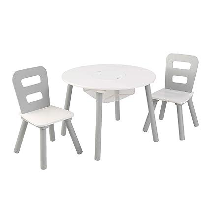 KidKraft 26166 Juego de mesa infantil redonda con almacenamiento y 2 sillas de madera: gris y blanco