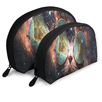 Makeup Bag Illustration Cat Galaxy Planet Glasses Portable Shell Makeup Case For Mother Halloween Gift 2