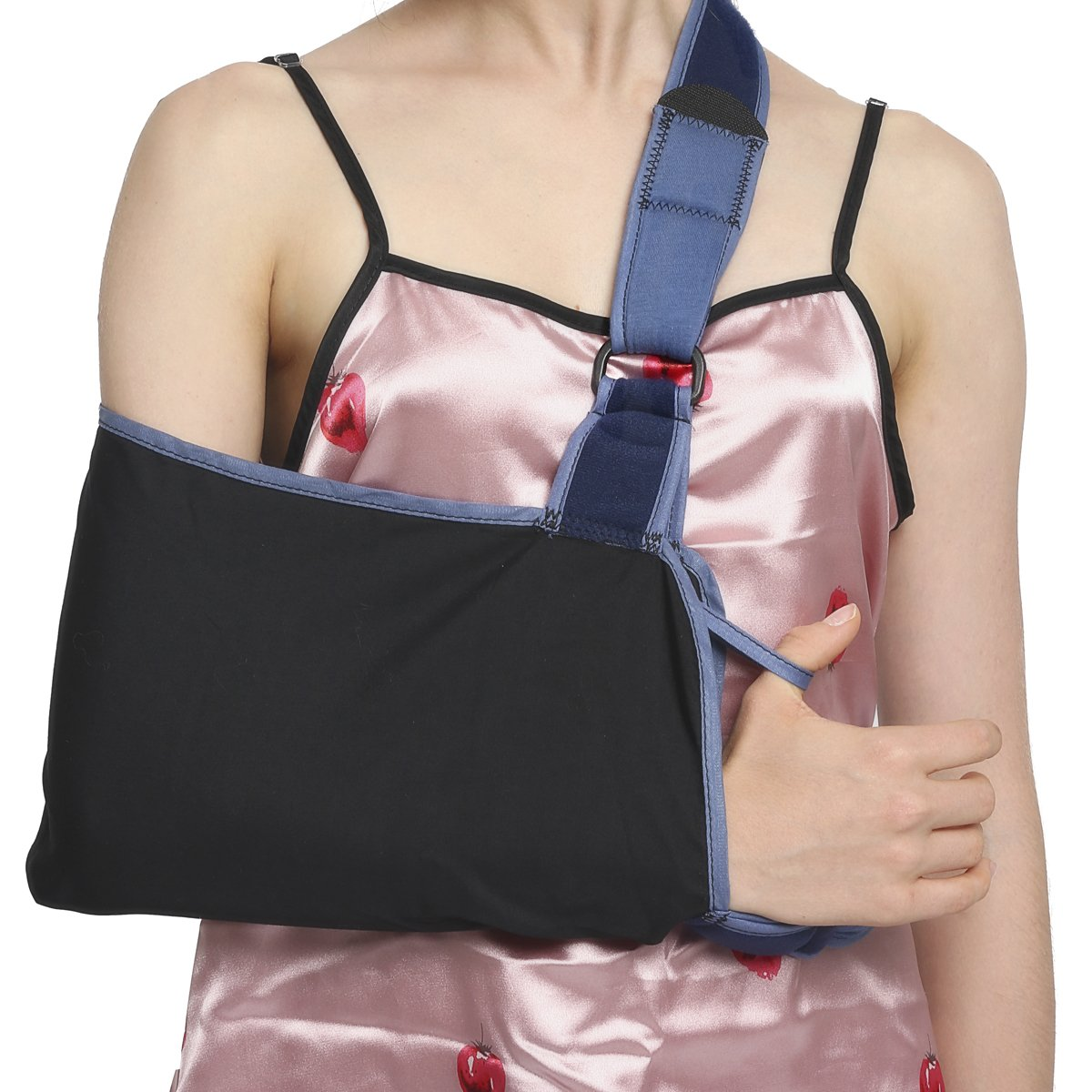 Velpeau Arm Sling with Waist Strap - Can Be Used During Sleep - Shoulder & Rotator Cuff Support - Adjustable Medical Sling for Subluxation, Dislocation, Sprains, Strains & Tears (Medium)