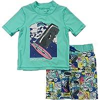 Skechers Boys Swim Suit Set with Trunks and Rashguard Swim Shirt Rash Guard Set