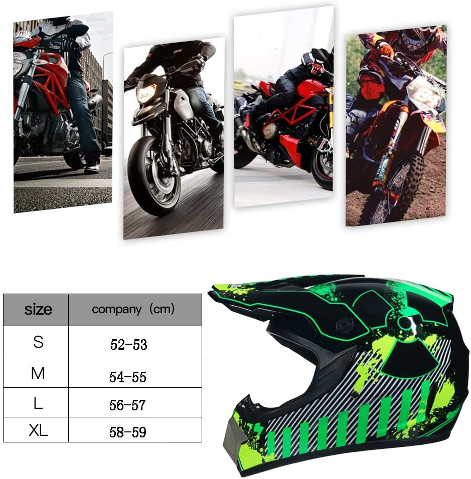 Handschuhe, Brille, Maske, 4-teiliges Set Full Face Motocross-Offroad-Helm Four Seasons Universal Outdoor-Jugend-Kinder-Dirt-Fahrradhelme TKUI Motorradhelm