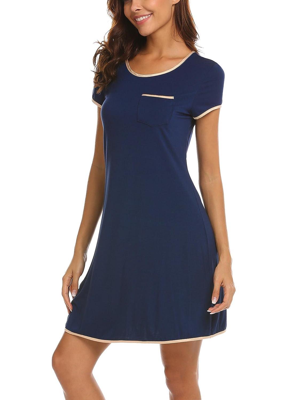 Ekouaer Womens Nightgown Cotton Sleep Shirt Dress Satin Patchwork Short Sleeve Sleepwear with Pocket