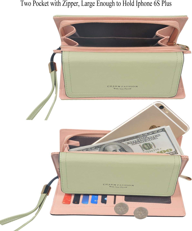Portefeuille Femme Porte-Cartes Porte-Monnaie /à glissi/ère en PU Cuir Porte-Cartes pour 13 Cartes,Purse Wallet Portefeuille pour Compagnon Cadeau Noire