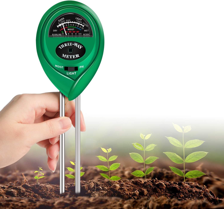 7 | K KERNOWO pH Soil Meter, 3-in-1 Soil Testing Kit with Moisture, Light and PH Tester for Garden
