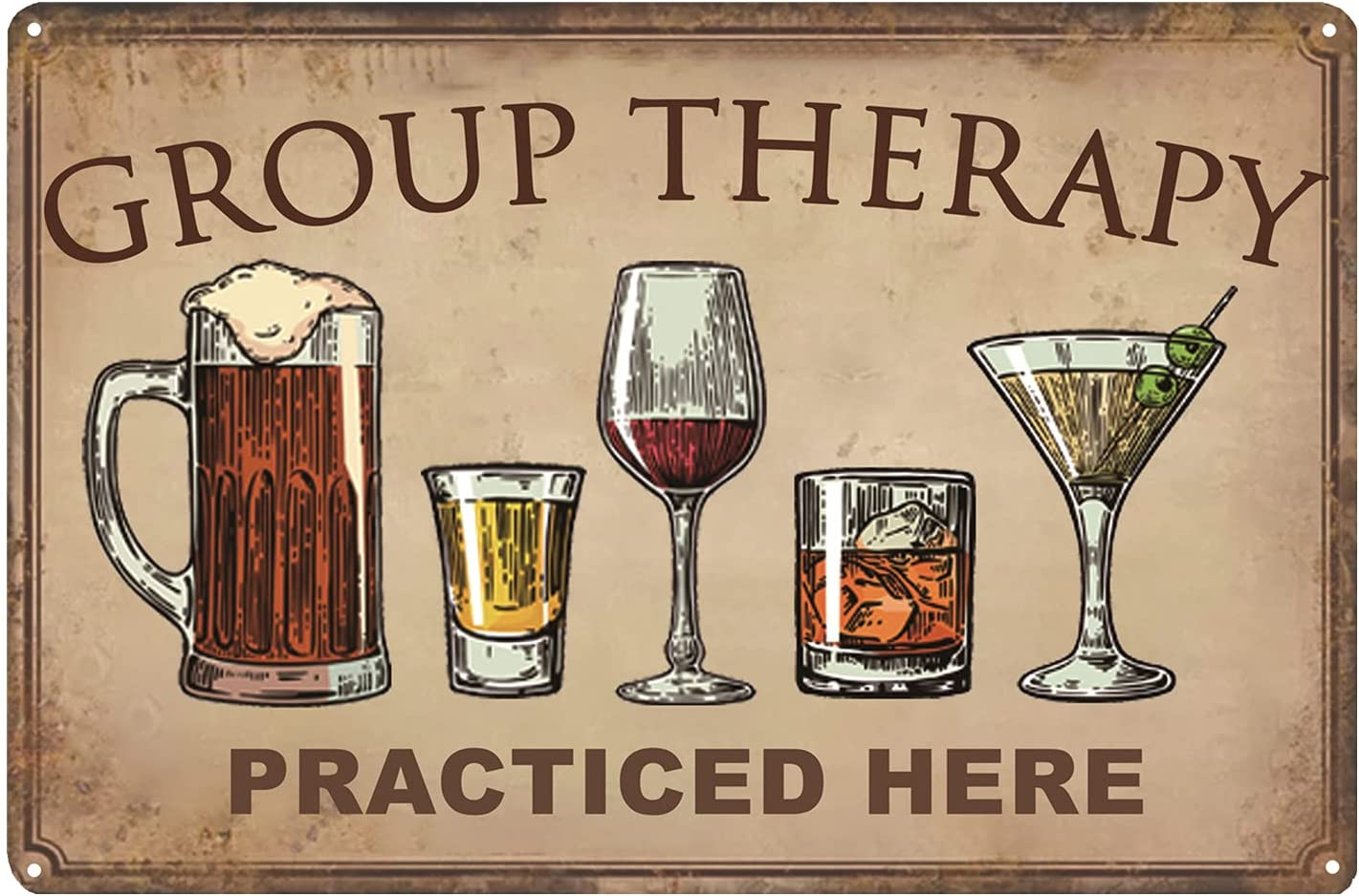 CWEIDP Bar Wall Decor Beer Signs Metal Tin Sign for Patio Backyard and Pool,Group Therapy Practiced Here Funny Personalized Vintage Signs for Home Decor Art Accessories Decorations Outdoor 8x12 Inch