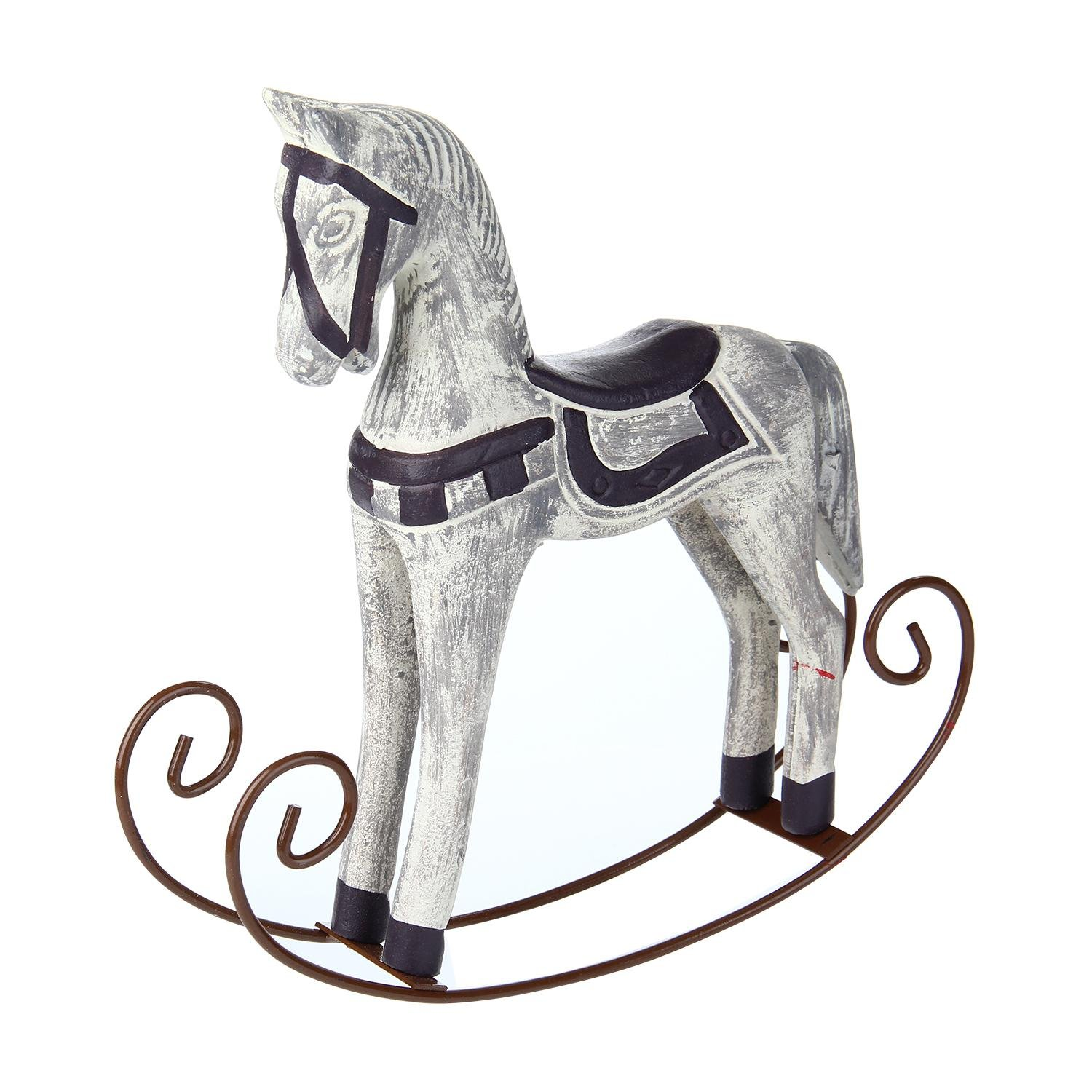 Pawaca Rocking Horse Statue Mediterranean Style Elegant Noble Wood Horse Sculpture Crafts for Home Office Table Decoration Ornaments Gifts