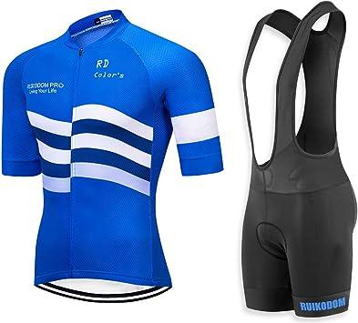 RUIKODOM Maillots de Bicicleta Conjunto de Verano Hombres Ropa de Ciclo Jersey de Manga Corta + Pantalones Cortos Acolchados Cómodo Respirable Secado rápido: Amazon.es: Deportes y aire libre