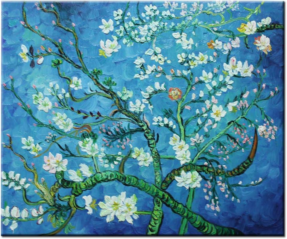 Flor de almendro pintada a mano Fokenzary Reproducción de lienzo de Vincent Van Gogh Enmarcado listo para colgar