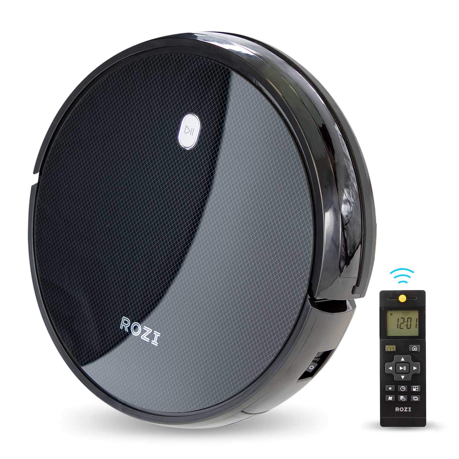 Robot Vacuum, 1600Pa Strong Suction, Smart Navi-System, 120mins Long Lasting, Quick Auto Charge, Multiple Cleaning Modes, Timing Function, Best for Pet Hair, Hard Floor & Low-Pile Carpet(Black) by ROZI