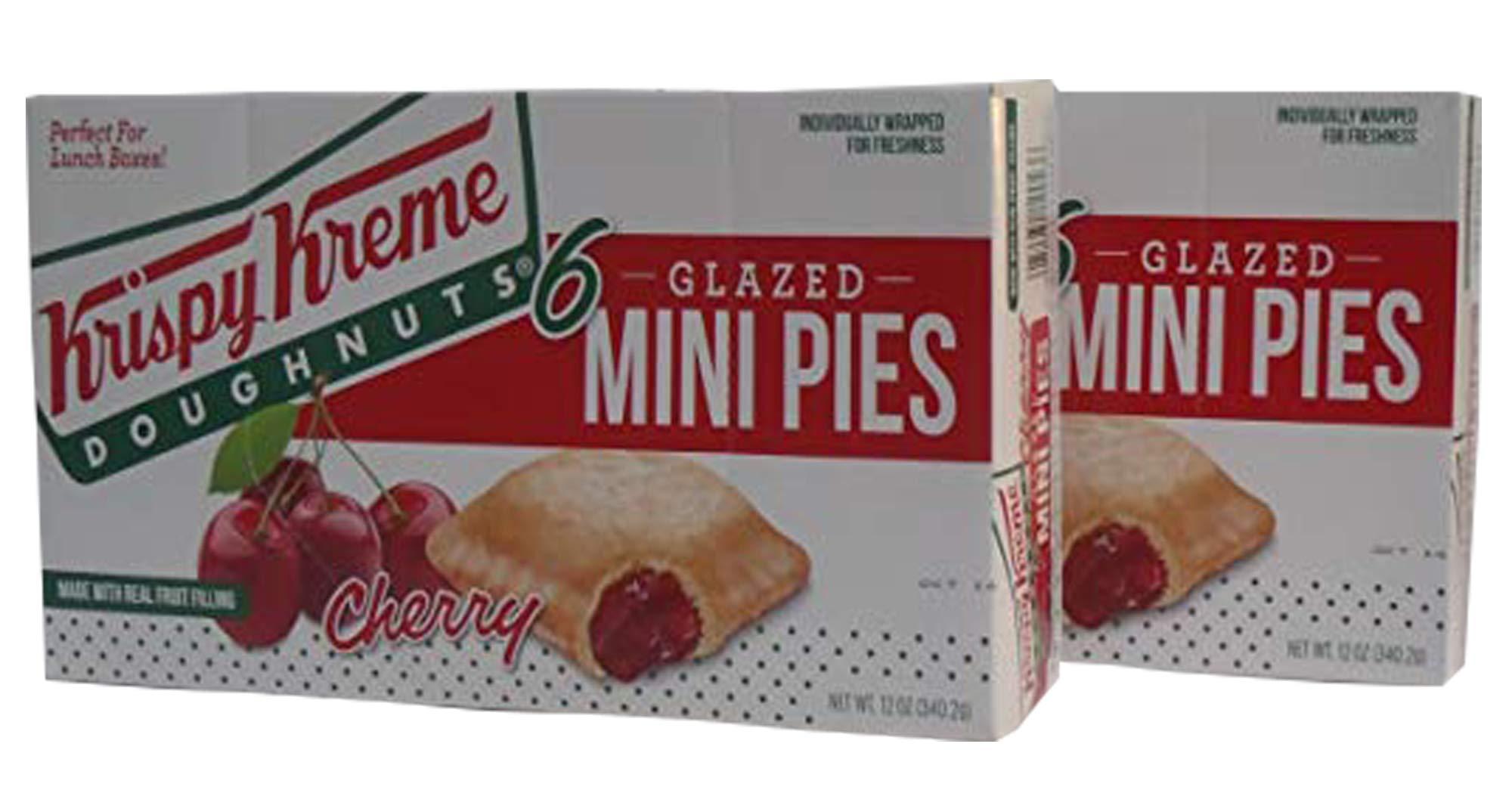 Krispy Kreme Glazed Mini Pies - 6-2 oz Glazed Mini Pies Per Box - Two Boxes: Cherry