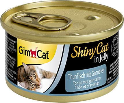 Gimcat Shinycat In Jelly Tuna With Shrimp Wet Food Containing Fish And Taurine For Kittens 24 Cans 24 X 70 G Amazon Co Uk Pet Supplies