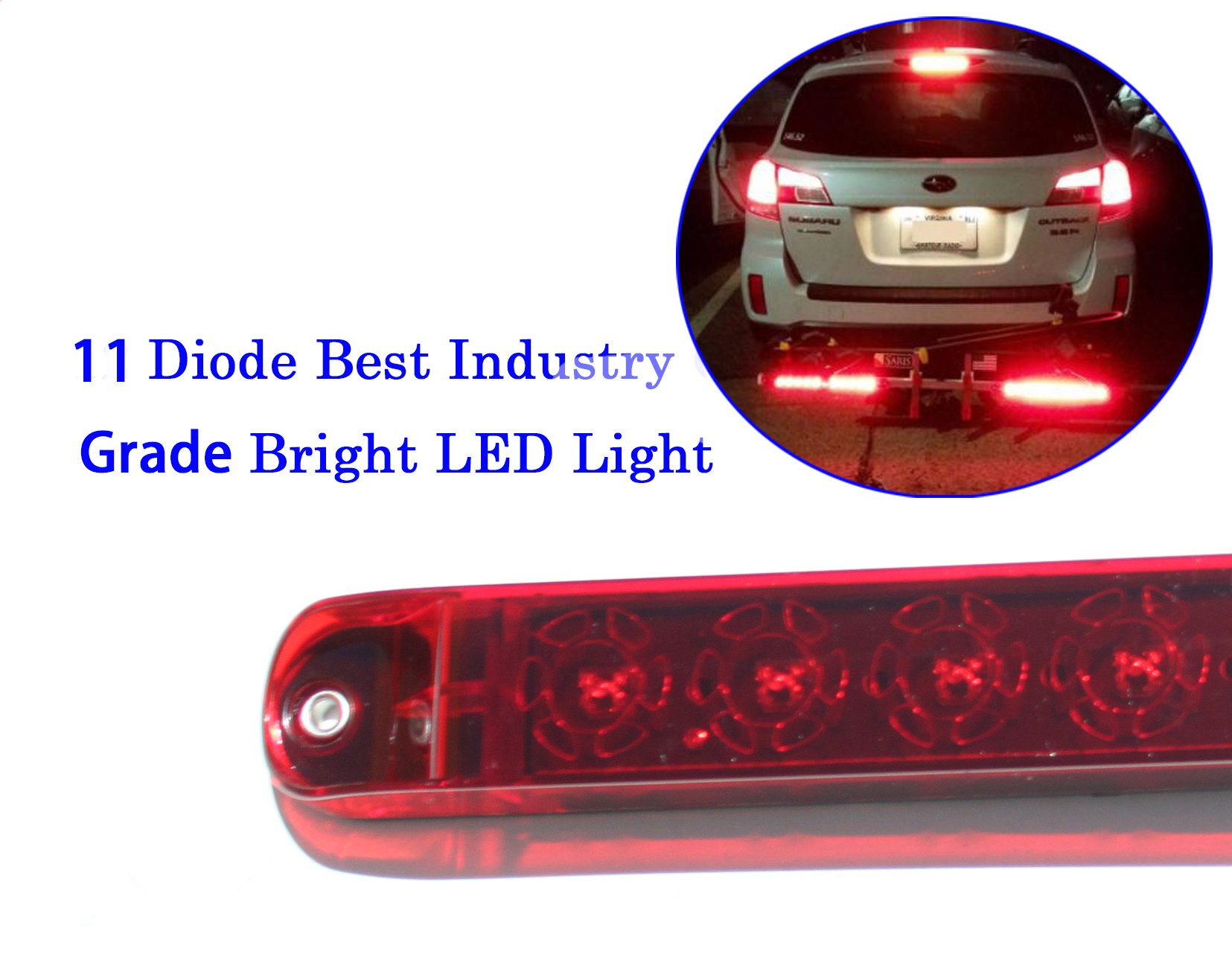 Autosmart 2PCS Red 17'' 11 LED Trailer Light Bar Sealed Stop Turn Tail Park Brake Light Truck Trailer Clearance Marker ID Bar by Autosmart
