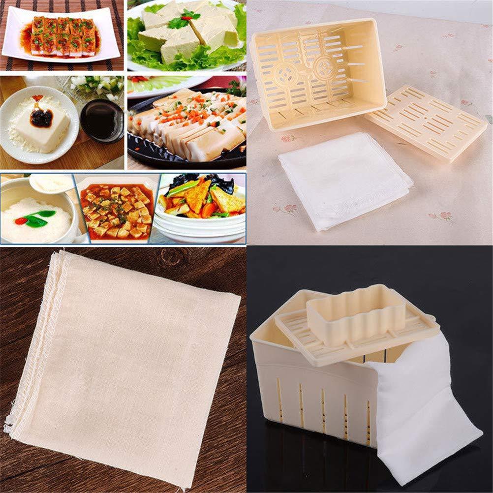 OneYANG Maison Tofu Press-Maker Moule Bo/îte Plastique Soja Ferment/é Machine /à Pain avec Ultra Fine 100/% Coton /Étamine
