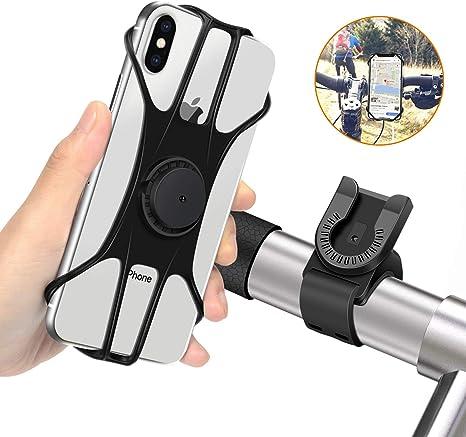 MOSUO Soporte Movil Bicicleta, Soporte Móvil Moto Universal Manillar de Silicona para Motocicleta MTB, 360° Rotación Agarre para iPhone XS XR X 8 Plus Samsung Galaxy Huawei y 4.0