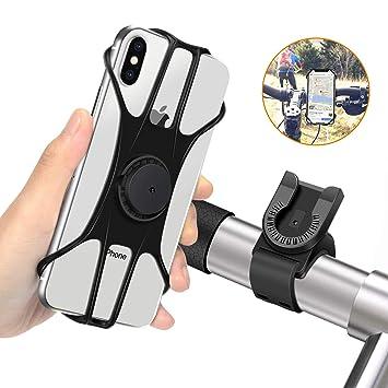 MOSUO Soporte Movil Bicicleta, Soporte Móvil Moto Universal Manillar de Silicona para Motocicleta MTB, 360° Rotación Agarre para iPhone XS XR X 8 Plus ...