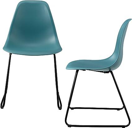 En Casa Sedie Per Sala Da Pranzo Helsinki In Set Di 2 Sedie Di Plastica E Metallo 82 X 46 5 Cm Color Turchese Amazon It Casa E Cucina