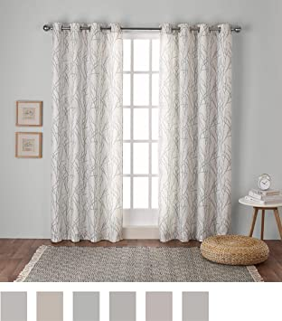 Exclusive Home Curtains Branches Linen Blend Grommet Top Window Curtain Panel Pair Sea Foam