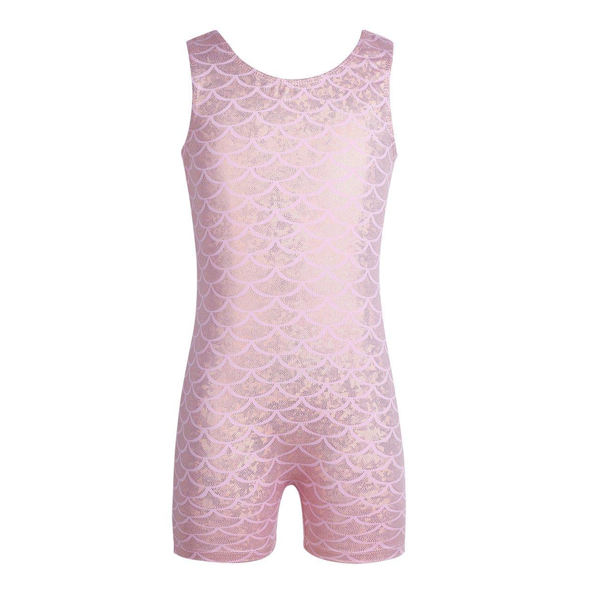 CHICTRY ガールズ ミスティック スパークルノースリーブ 体操 タンクトップ レオタード カラフル リボン ダンス ユニット B07DPHMJH2 Shiny Scales Pink 43750