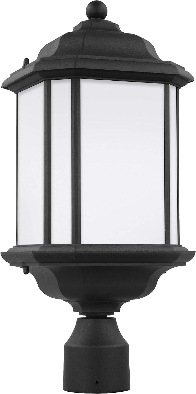 Sea Gull Lighting 82529-12 Kent One-Light Outdoor Post Lantern Outside Lighting, Black Finish