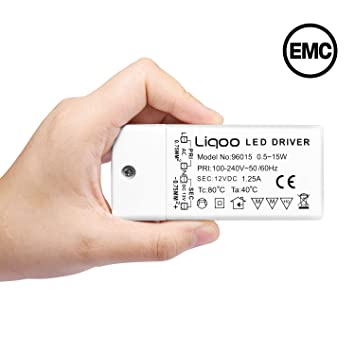 Liqoo® 0.5-15W LED Trafo Transformador del Conductor Eléctrico de Alimentación del Driver para Bombillas DC 12V G4 MR16 GU10 Tira de LED 1.25A Sin Carga: ...
