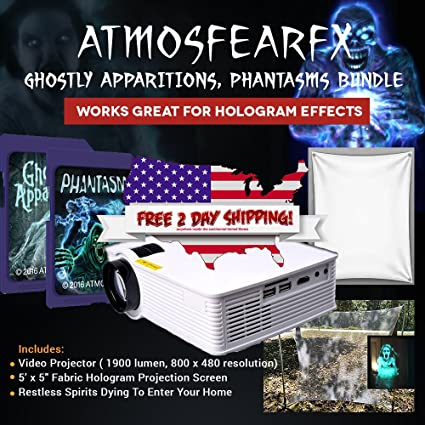 virtual atmosfearfx halloween led projector kit window decoration includes atmosfearfx ghostly apparitions phantasms and