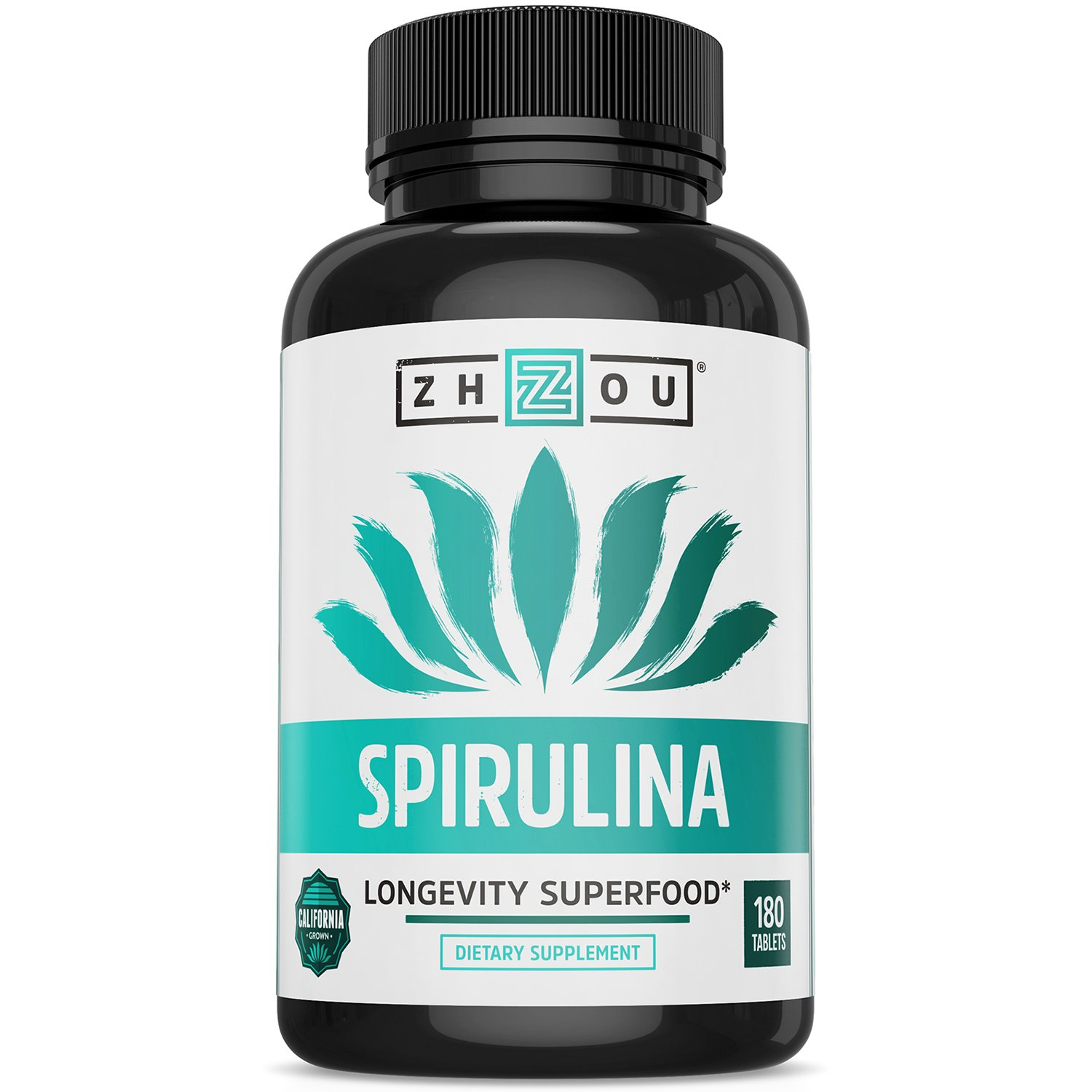 Non-GMO Spirulina Tablets, Highest Quality Spirulina on Earth, Sustainably Grown in California Without Pesticides, 100% Vegetarian & Non-Irradiated, 500mg in Each Small Tablet, 180 Count by Zhou Nutrition