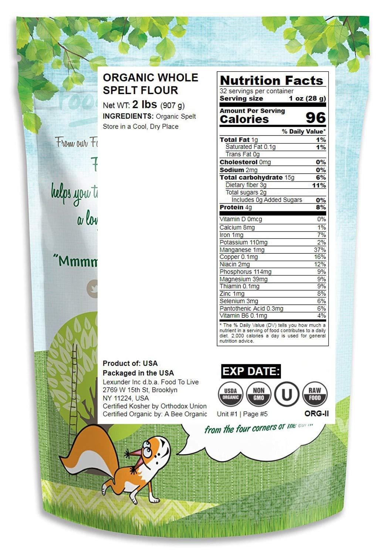 Harina de espelta orgánica, 2 Libras - Grano entero, Sin OGM ...