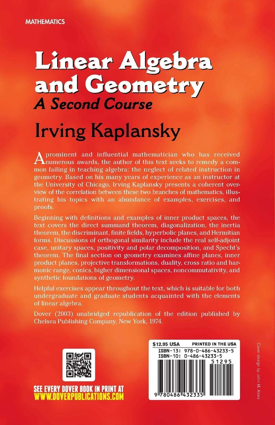 Linear algebra and geometry: A second course