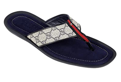 723072172481 Gucci men s leather flip flops sandals blu UK size 11 202762 KGDT0 4067