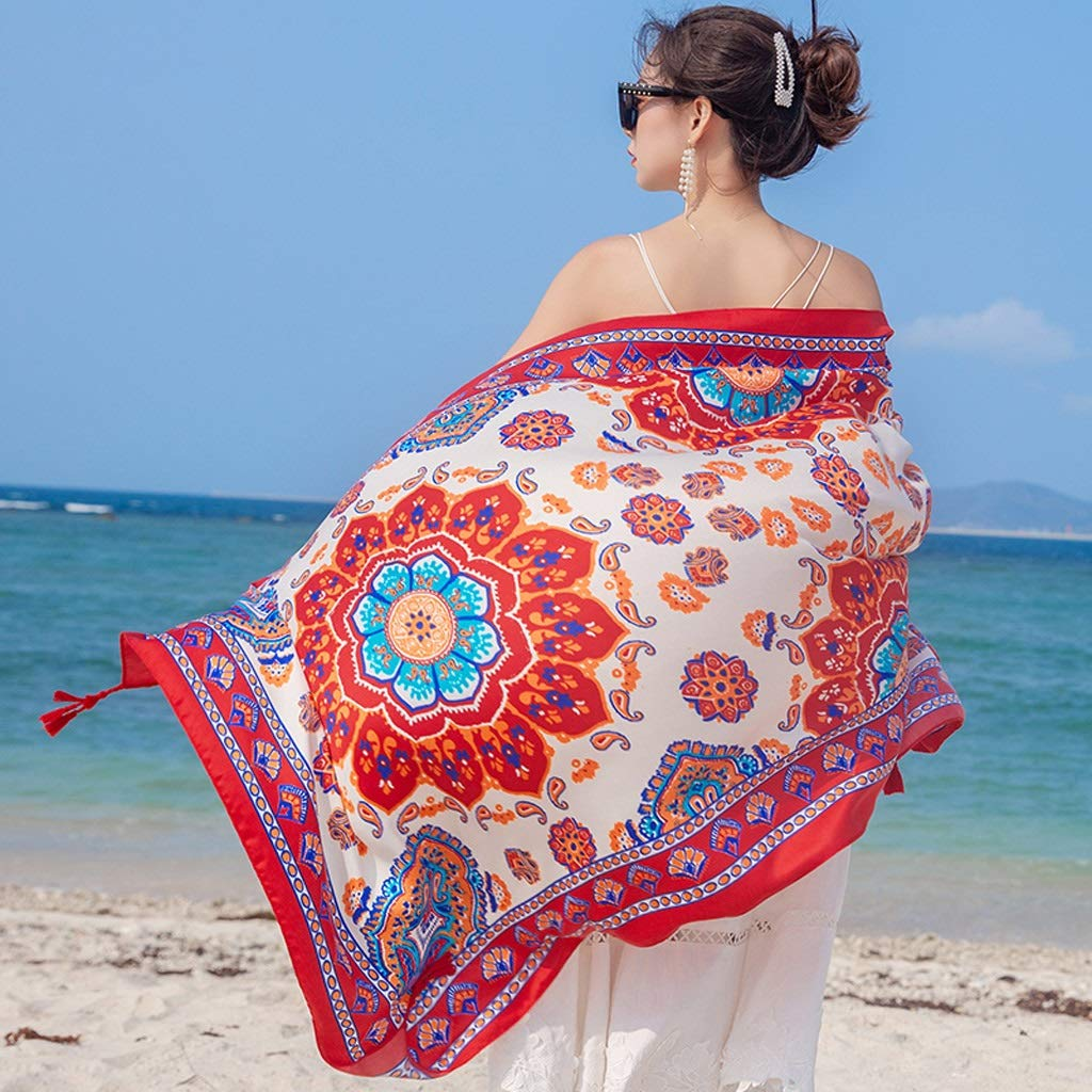 Ethnic Style Cotton and Linen Scarves Ladies Oversized Travel Shawl Long Retro Tassel Pendant Beach Towel Sunscreen Warm Multi-Design (Edition : D)