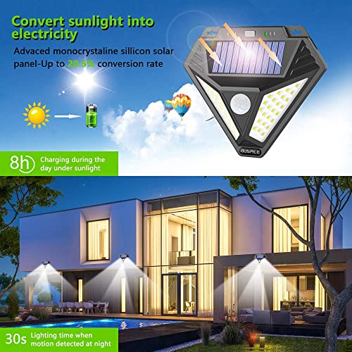 AOBISI Solar Lights Outdoor, Motion Sensor Light with 3 Optional Modes, 270 Wide Angle, IP65 Waterproof Wireless Wall Lights, Solar Powered Security Lights for Front Door, Yard, Garage 3 Pack