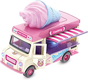 Alloy Toy Cars - Creative Decorative Models of Car Food Trucks with Sound and Light, for Children Girls and Boys.(Pink)