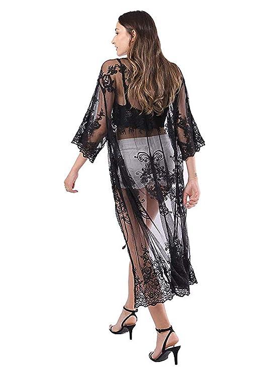 Amazon.com: MissShorthair - Kimono de encaje para mujer con ...