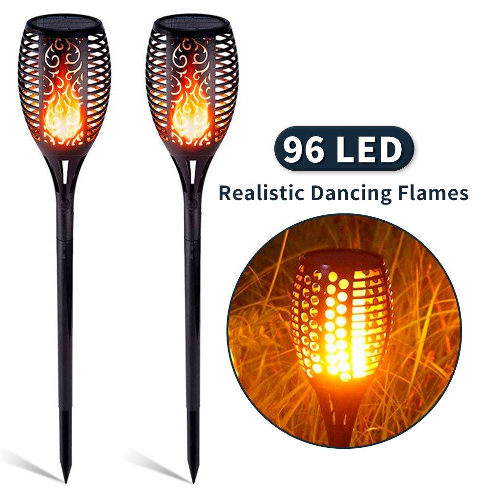 C/éspedes 2 Piezas Iluminaci/ón de Jardines Suroper L/ámpara de Llama Solares 96 LED Luces Jard/ín Exterior Solar Spotlight IP65 Impermeable para Patios Traseros
