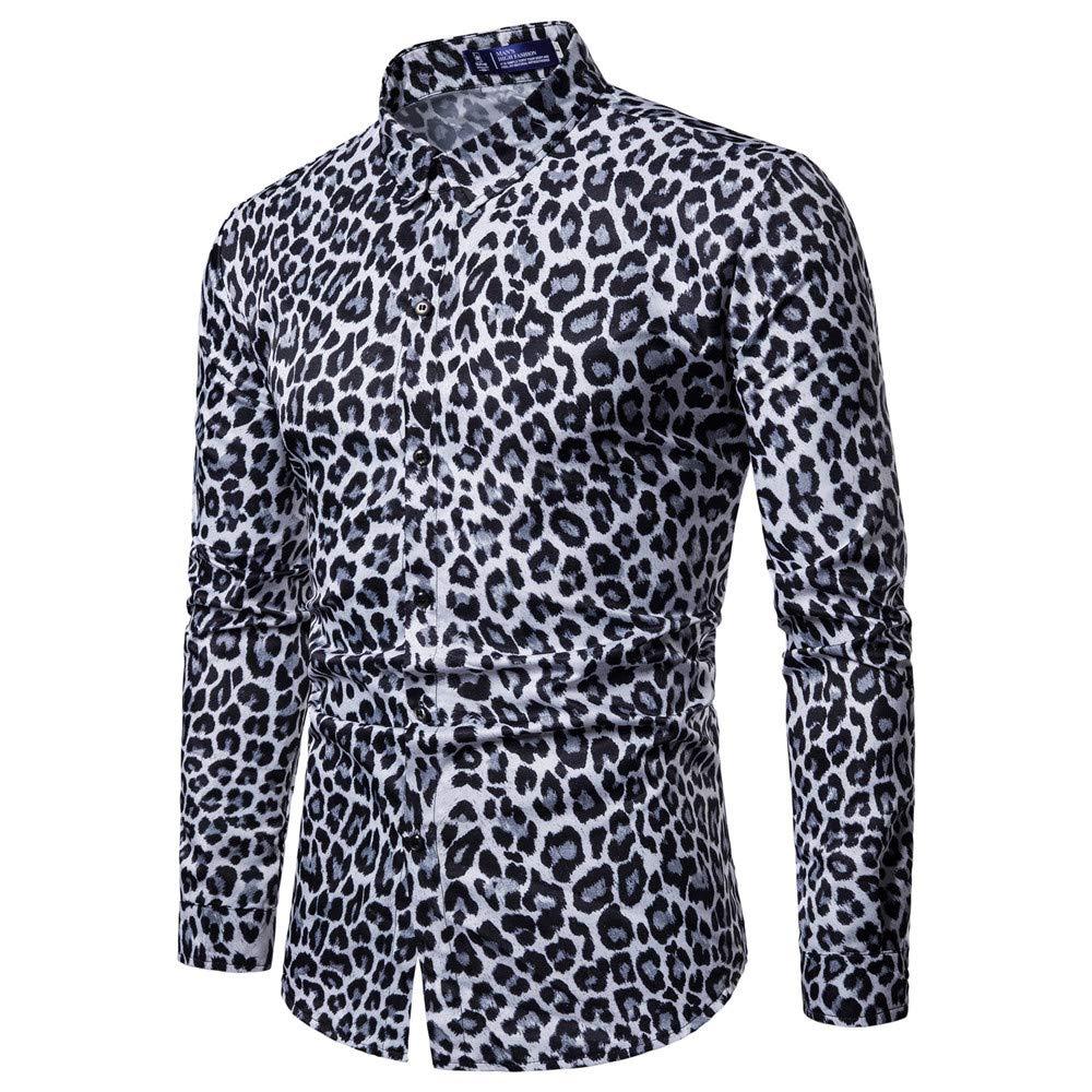 Zyee Men Shirts Mens Fashion Casual Long Sleeve Leopard Print