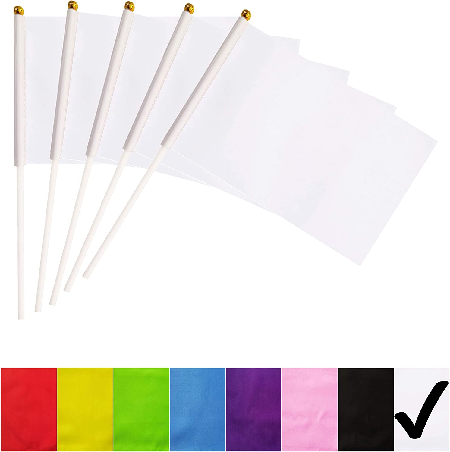 BCLin White Stick Flags,50 Pack Hand Held Small Mini Solid Flag On Stick,5x8 Inch Outdoor Decoration,Party Decorations,Supplies for Parades, Festival Events Celebration (White)