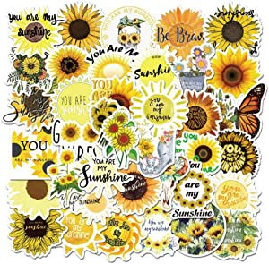 Sunflower Stickers, 50 Pcs Sunflower Waterproof Vinyl Stickers for Water Bottles Laptop Car Bicycle Motorcycle Refrigerator Luggage Cup Computer Mobile Phone Locker Skateboard Decals