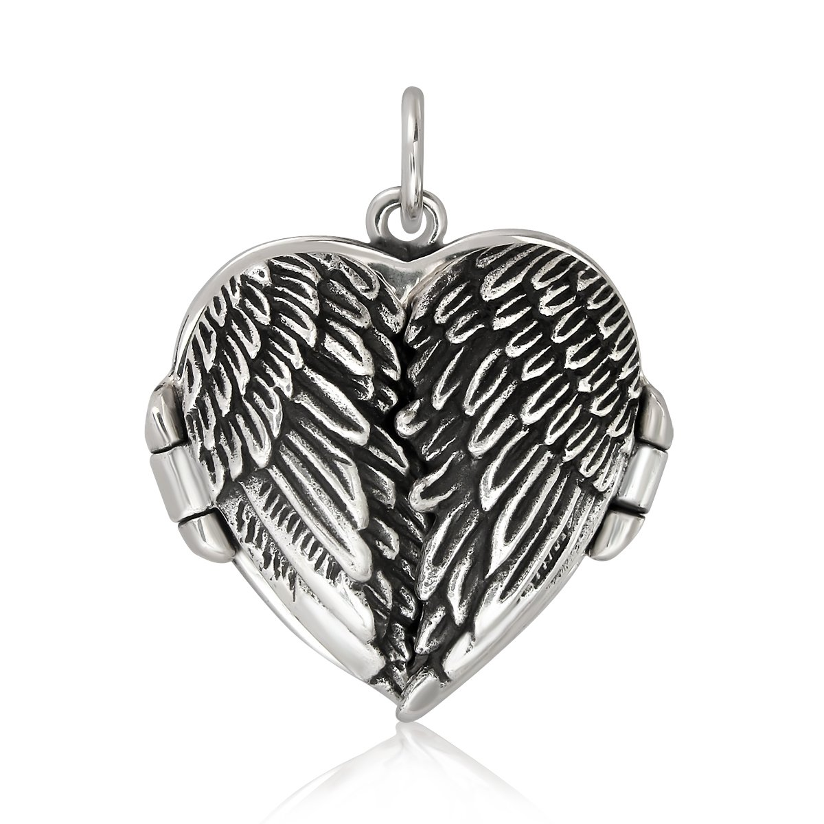 WithLoveSilver 925 Sterling Silver Feather Angel Wing Heart Love Charms Locket Pendant 10252PPJ