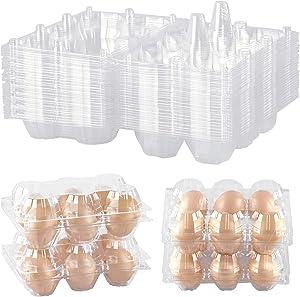 48 Pack Egg Cartons Clear Plastic Egg Cartons Bulk Empty Chicken Egg Holders - Hold 6 Eggs Securely