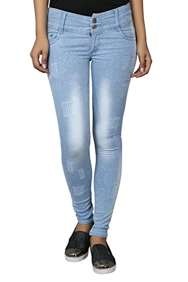 Knight Vogue Light Blue Denim Lycra Slim Fit Casual Jeans for Women Jeans   Jeggings