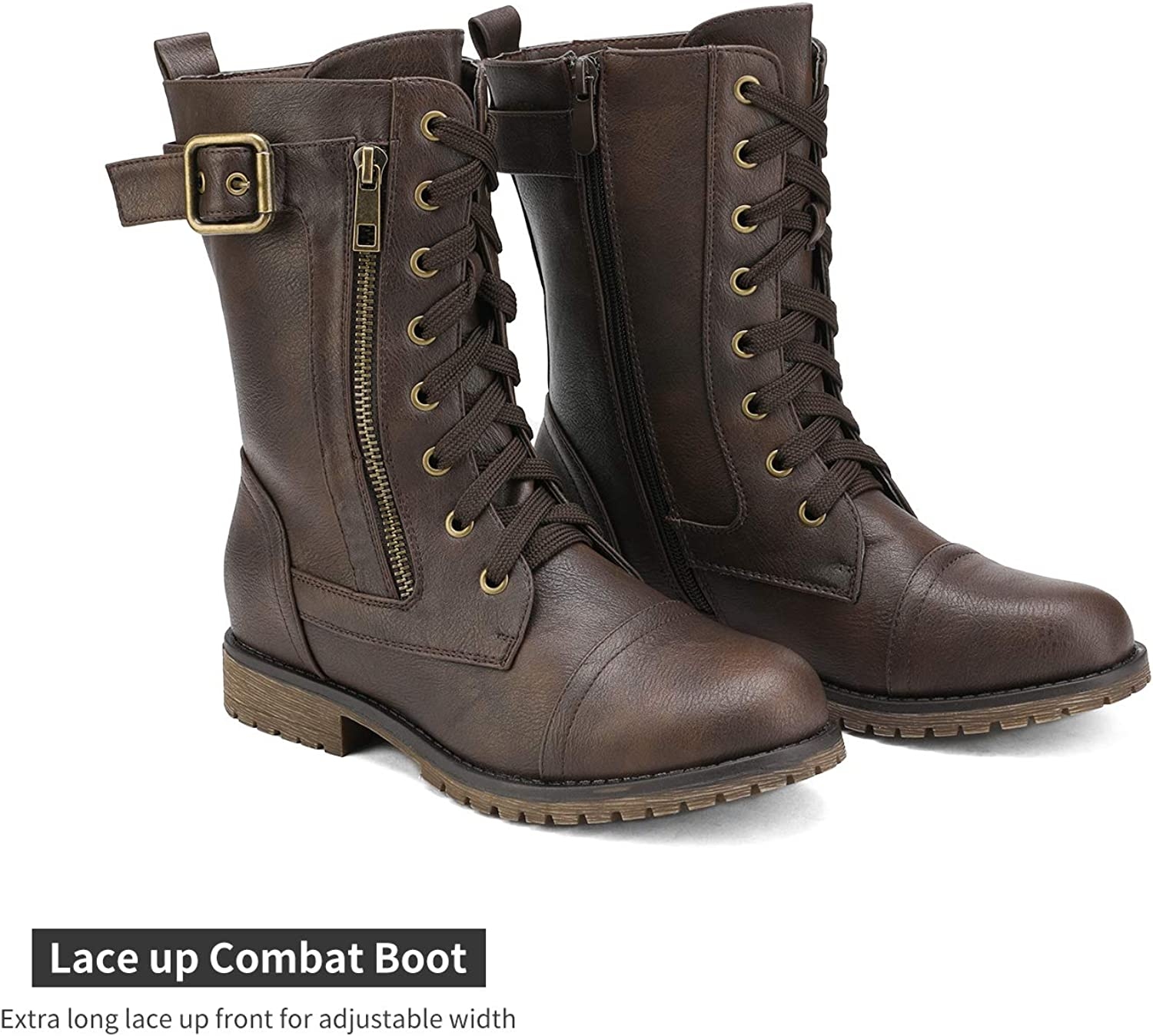 DREAM PAIRS Women NewMission Military Pull-on Pocket Ankle Combat Mid Calf Boots