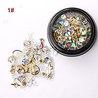 Niome 1 Box Nail Art 3D Tips DIY Mixed Bead Decoration Rhinestones Glitter Crystal Studs Ball 8#